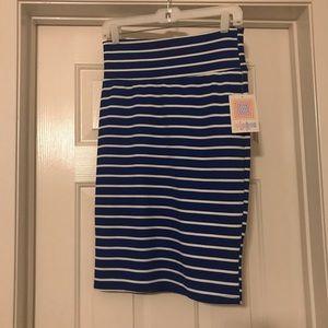 NWT Lularoe Cassie - Blue White Stripe - Small